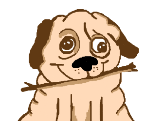 300x250 Dog Eating A Stick (Drawing By Atomicnoob)