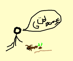 300x250 Man Praises His Pet Dog For Pooping On Stick (Drawing By Zioneig)