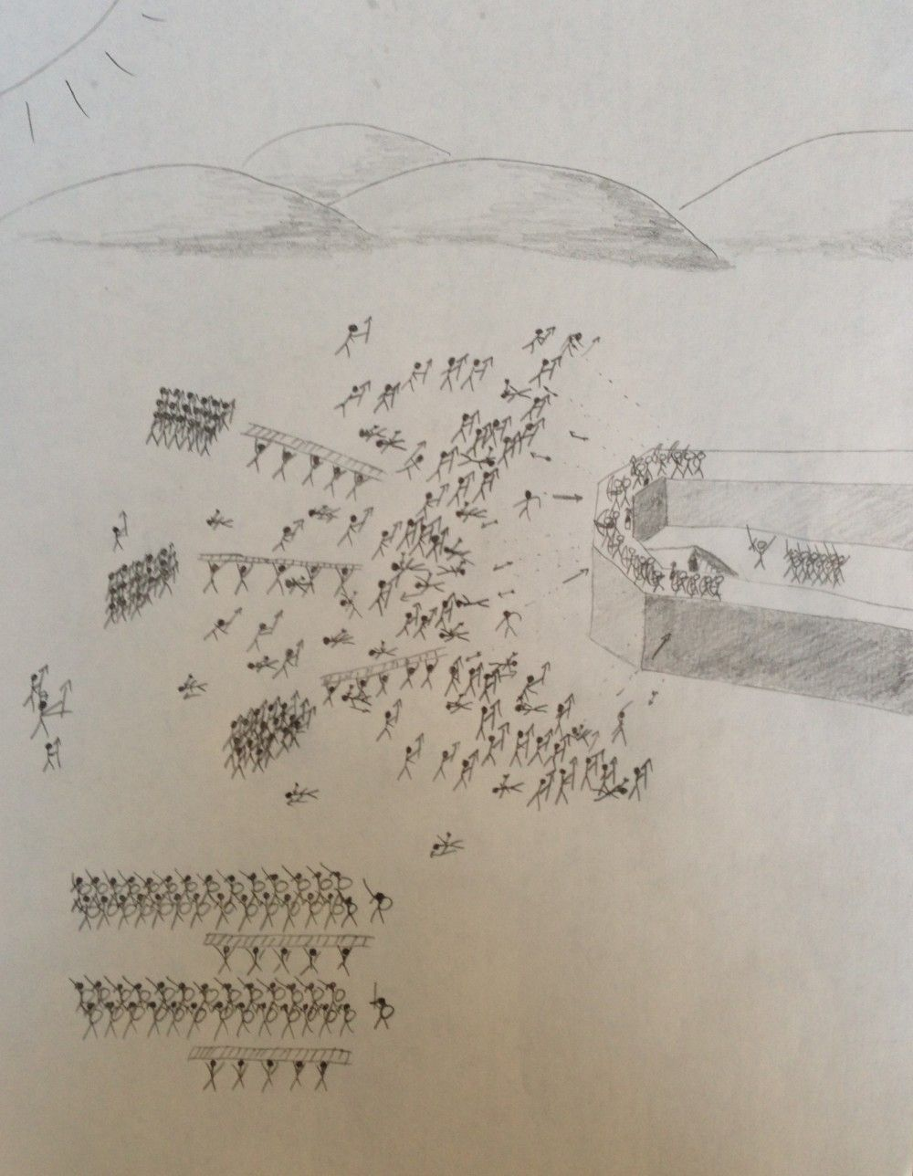 1000x1288 Drawing No. 9 Stick Figure Battle Whitehead's Desperate Stand
