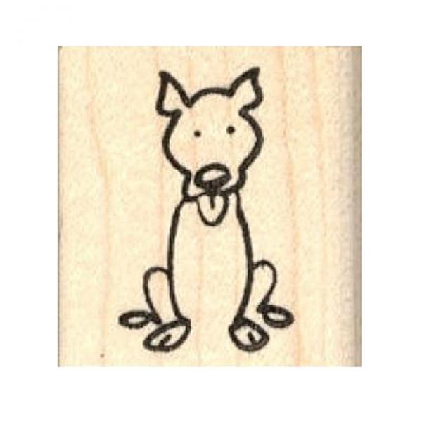 600x600 Pit Bull Stick Figure Rubber Stamp, Dog Park Publishing Dogs