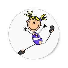 236x236 Stick Girl Gymnast Stickers Gymnasts, Flipping And Stick Figures