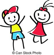 190x194 Stick Boy Girl Clipart Vector