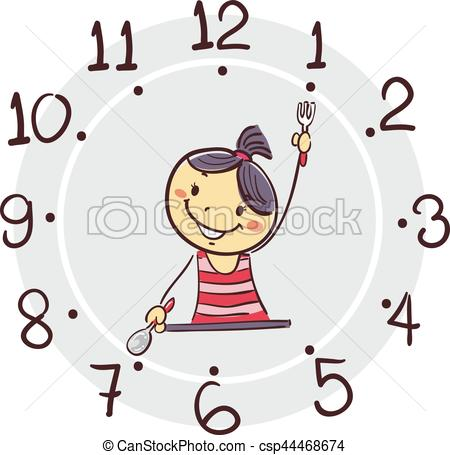 450x455 Vector Illustration Of Stick Girl Using His Arm As Clock