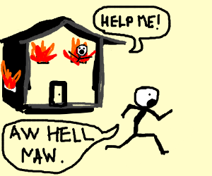 300x250 Stick Runs Away From Badly Drawn Burning House