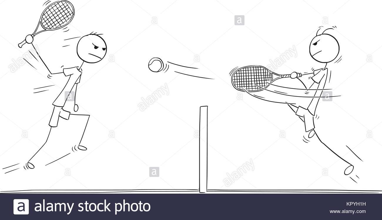 1300x750 Cartoon Stick Man Drawing Illustration Of Two Tennis Players