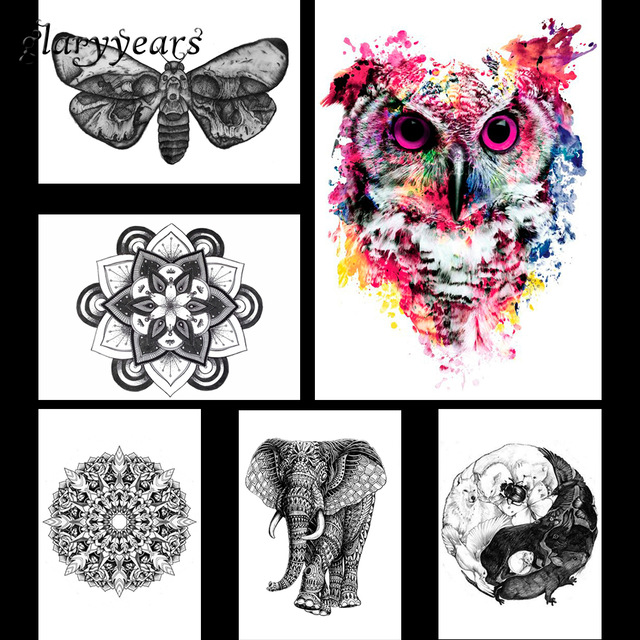 640x640 6 Pieces Hot Sale Pattern Design Tattoo Sticker Colored Drawing