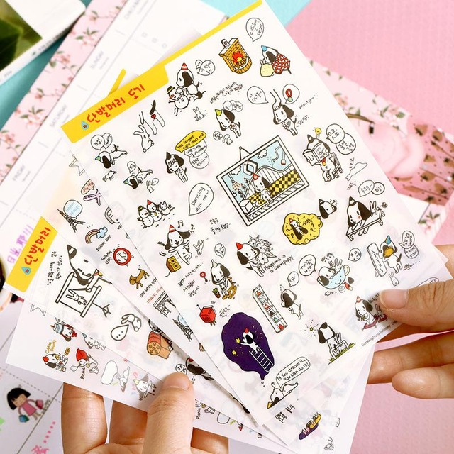 640x640 4 Sheets1 Lot Diary Planner Stickers Drawing Cartoon Dog