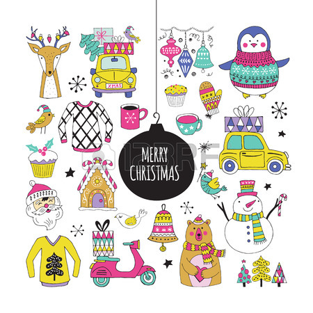450x450 Christmas Holiday Cute Hand Drawing Elements And Stickers