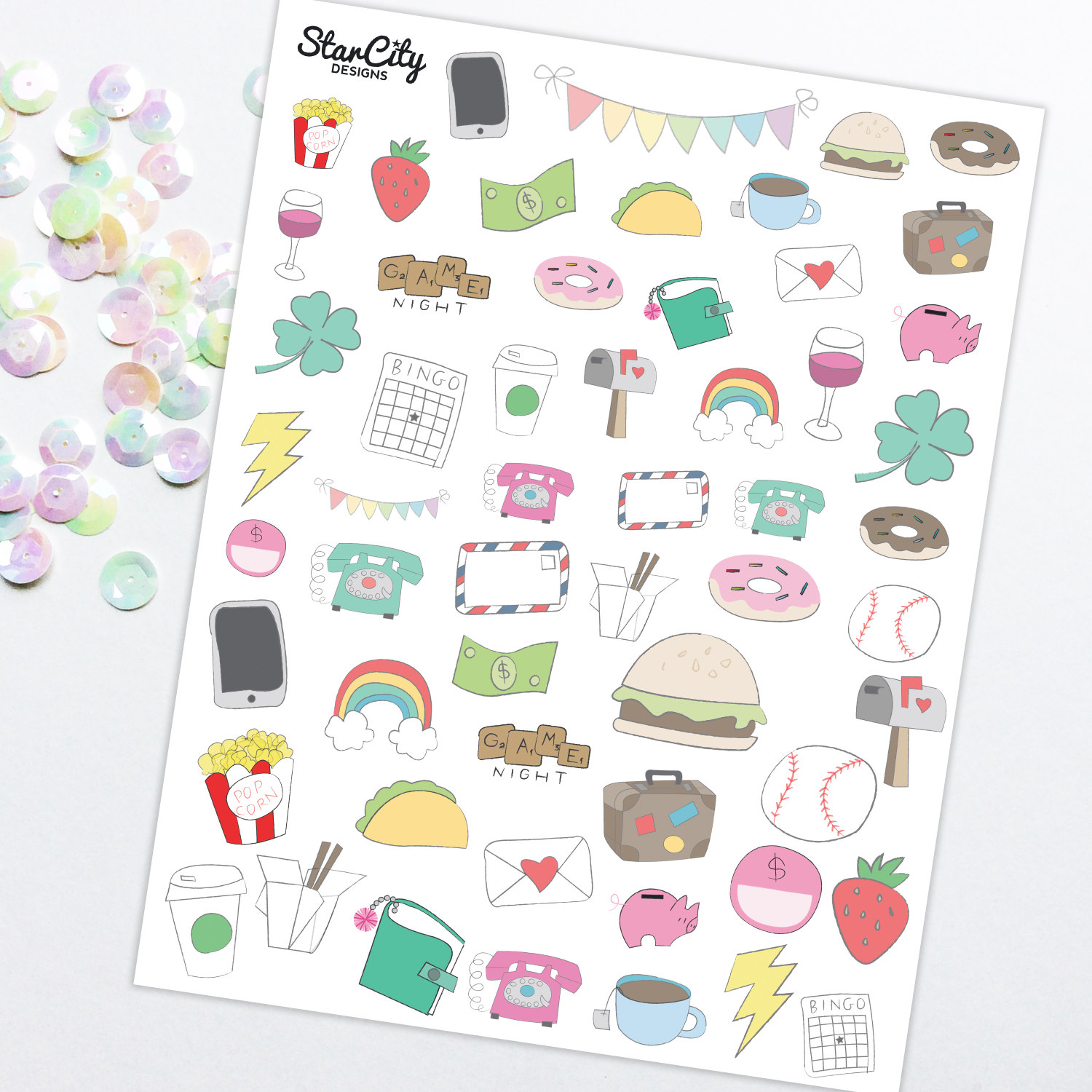 1500x1500 Printable Hand Drawn Stickers Doodle Planner Stickers