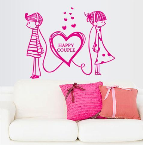 476x483 Romantic Love Wall Sticker Bedroom Wedding Heart Couple Wallpaper