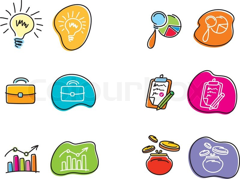 800x596 Set Of Drawing Finance Stickers Icon Carton Design Style Stock