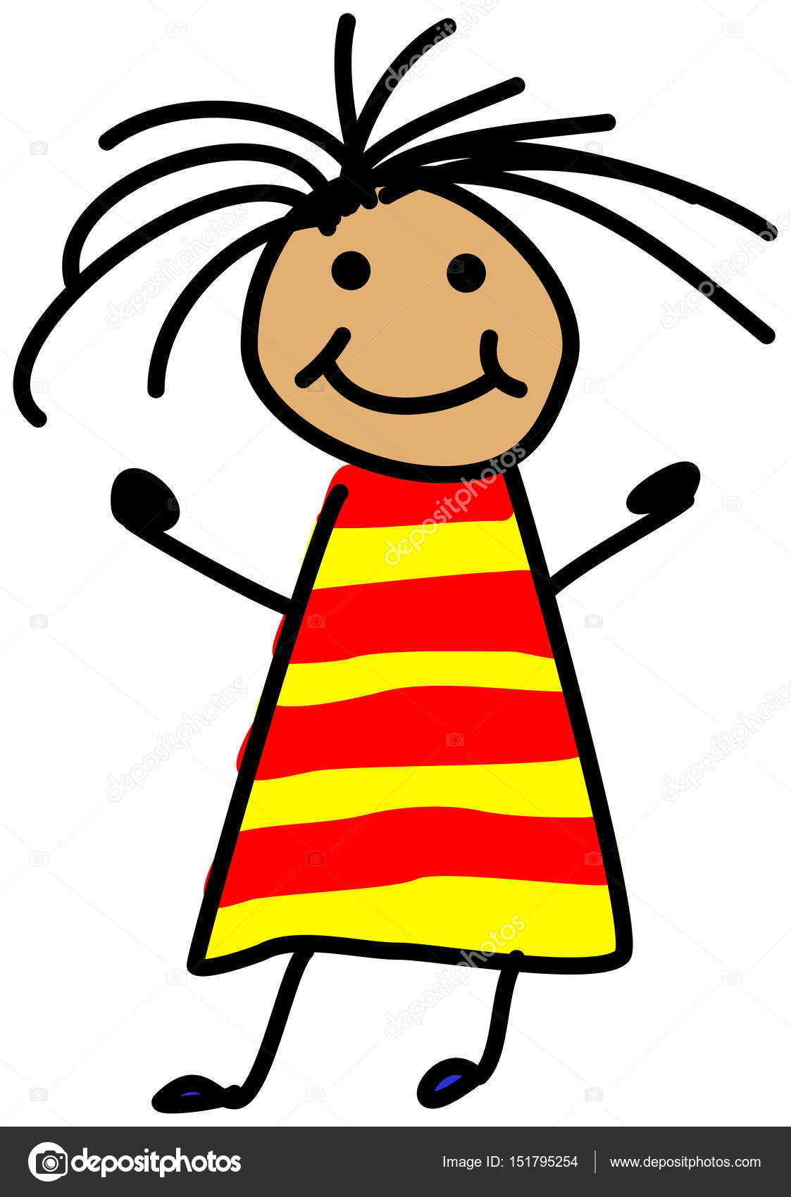 1123x1700 Simple child stickman illustration drawing of girl with wild hai