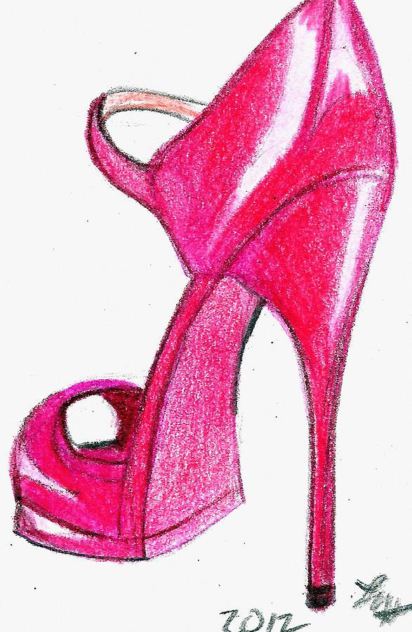 587x900 Red Stiletto Drawing By Loretta Nash