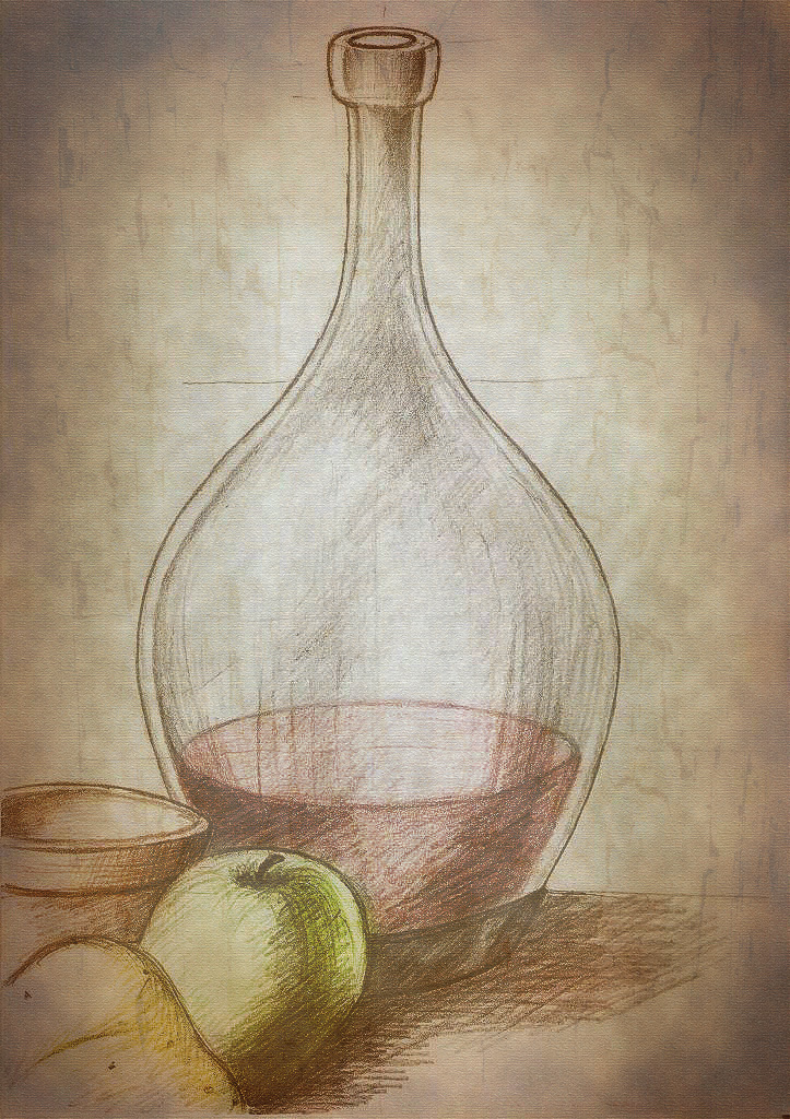 723x1024 Still Life Pencil Drawing Graphite Coloured Postedited