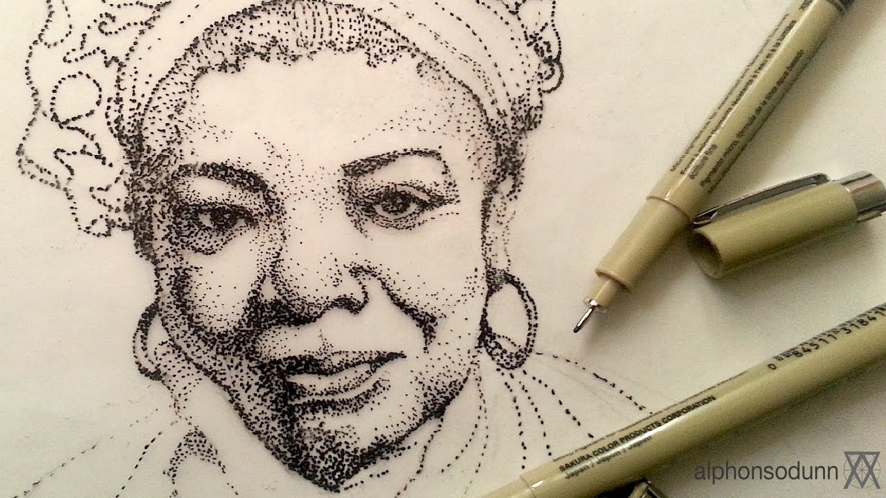 1280x720 Pen And Ink Drawing Tutorials Stipple Portrait Drawing Of Maya