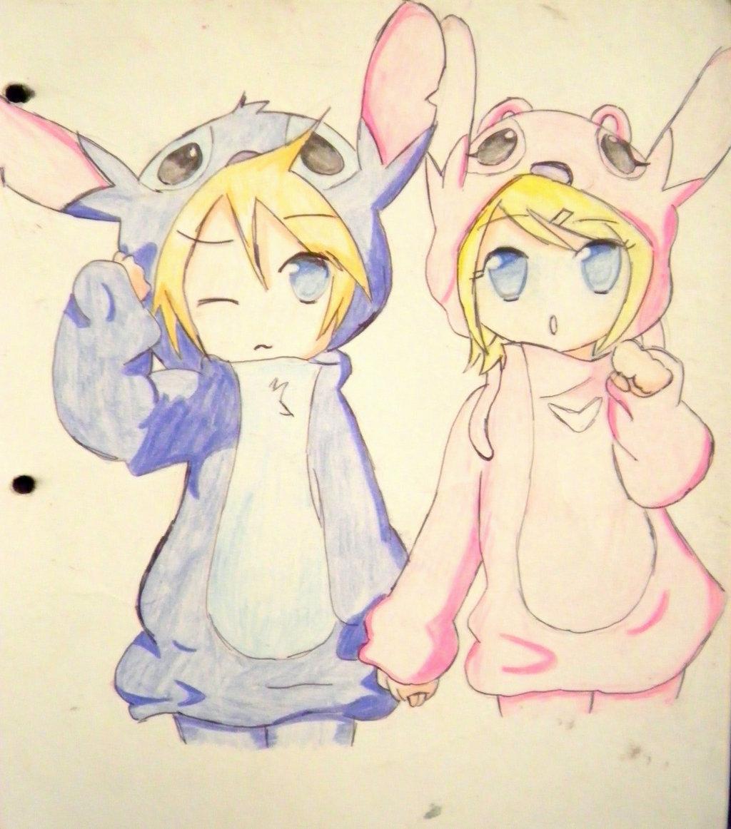 1024x1162 Rin Y Len Cosplay De Stitch Y Angel By Kary22 Cute