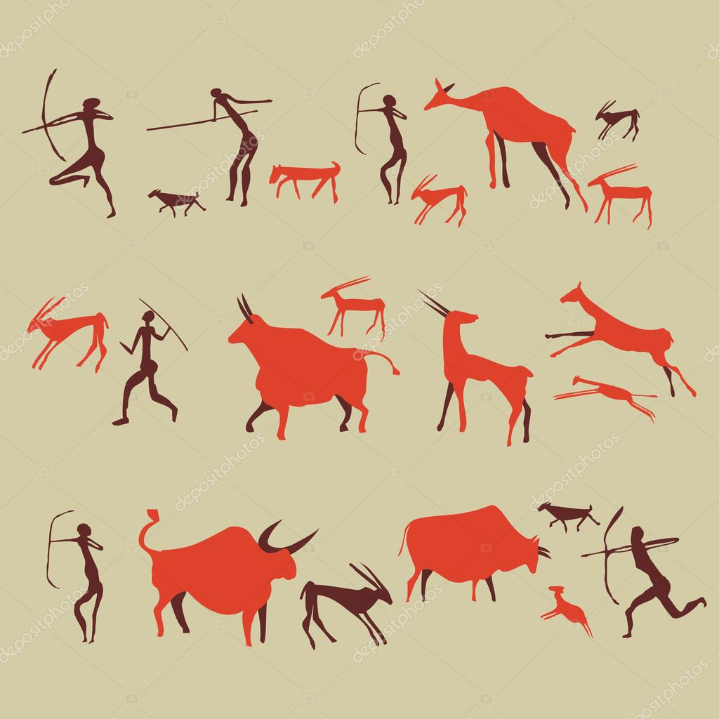 1024x1024 Cave Drawing Ancient Rock Painting Stone Age Illustration Vector