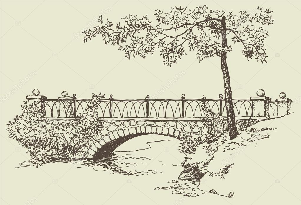 1023x698 Landscape Sketch Of Stone Bridge Stock Vector Marinka