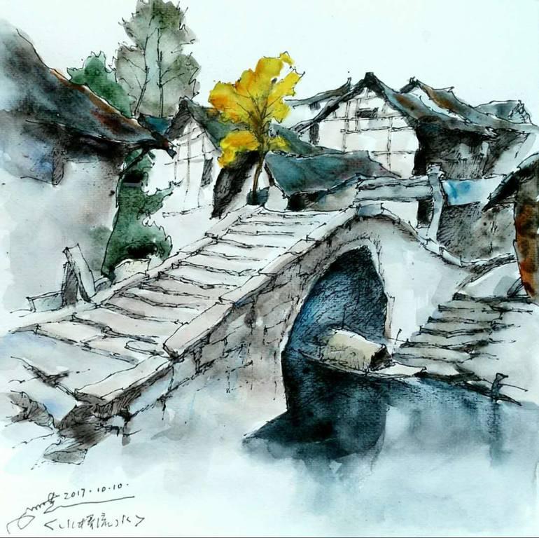770x768 Saatchi Art Stone Bridge Drawing By Luying Wang