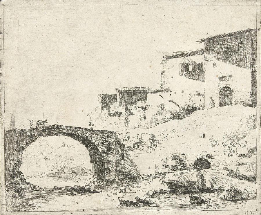 900x741 Stone Bridge With Donkey Driver At Homes Drawing By Artokoloro