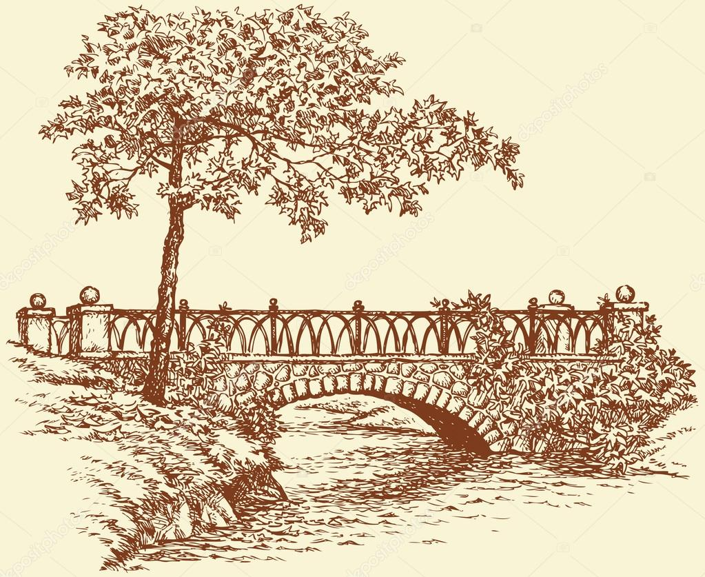 1023x837 Vector Landscape. Maple Near Ancient Bridge Over A Small River