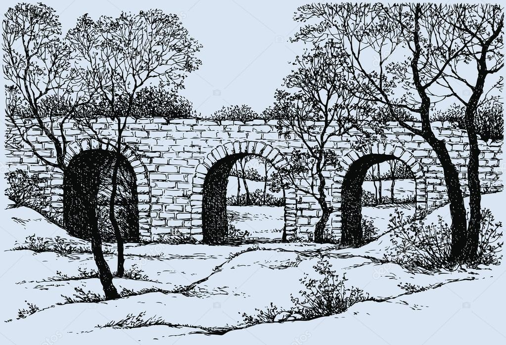 1023x698 Vector Landscape. Old Dilapidated Stone Bridge In The Park Stock
