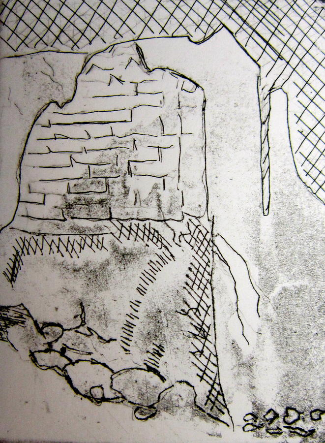 661x900 Old Stone Wall Etching Drawing By Marita Mcveigh