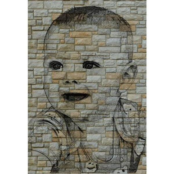 600x600 Photo Pencil On Wall Drawing On Oval Stone Slates Ellisi Gifts