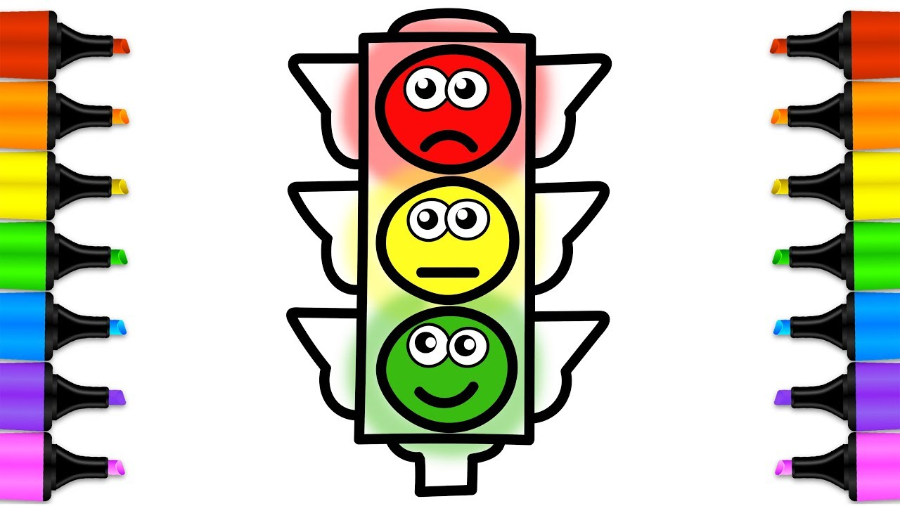 1280x720 Drawing For Kids Traffic Light. Learn By Steps Drawing Traffic