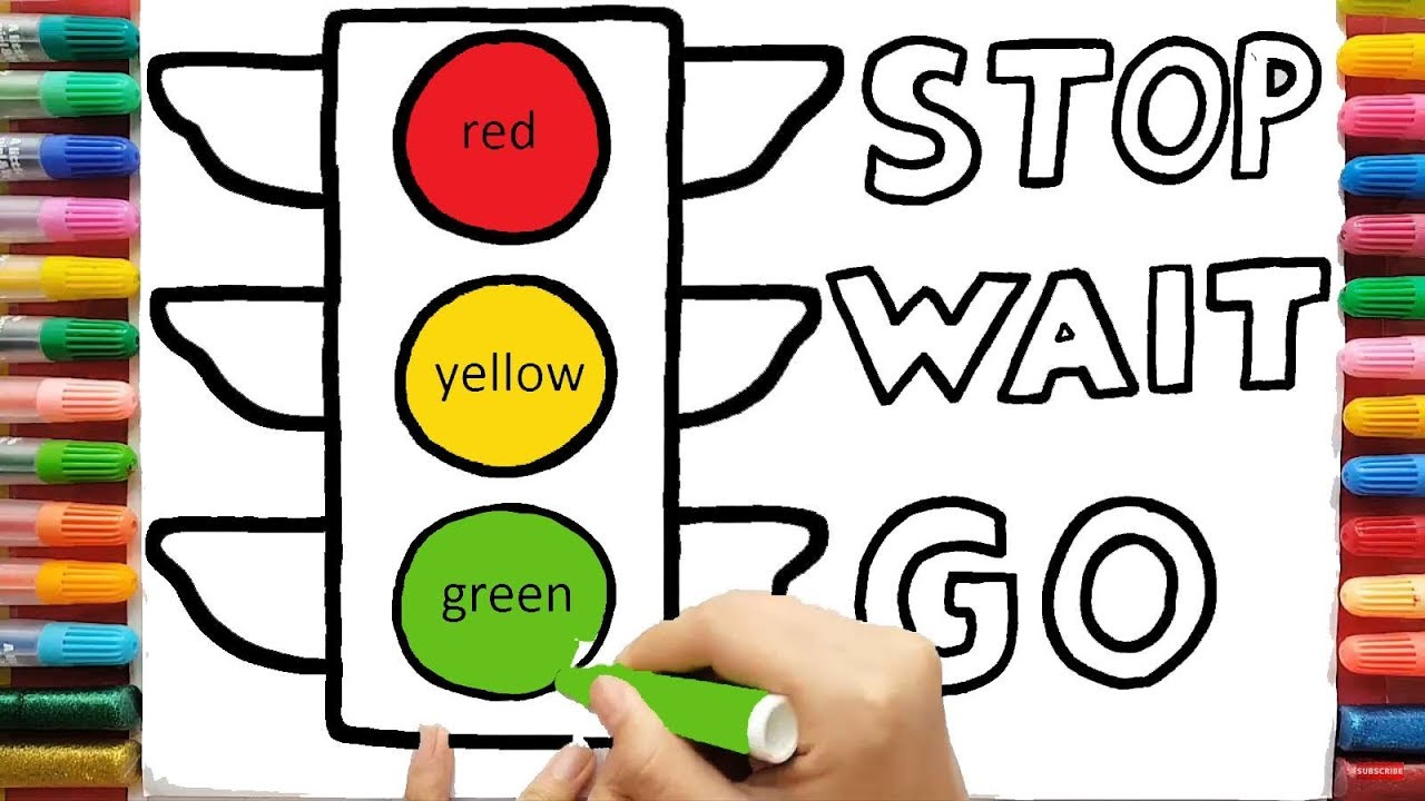 1280x720 Traffic Light Drawing Coloring Pages Red Yellow Green