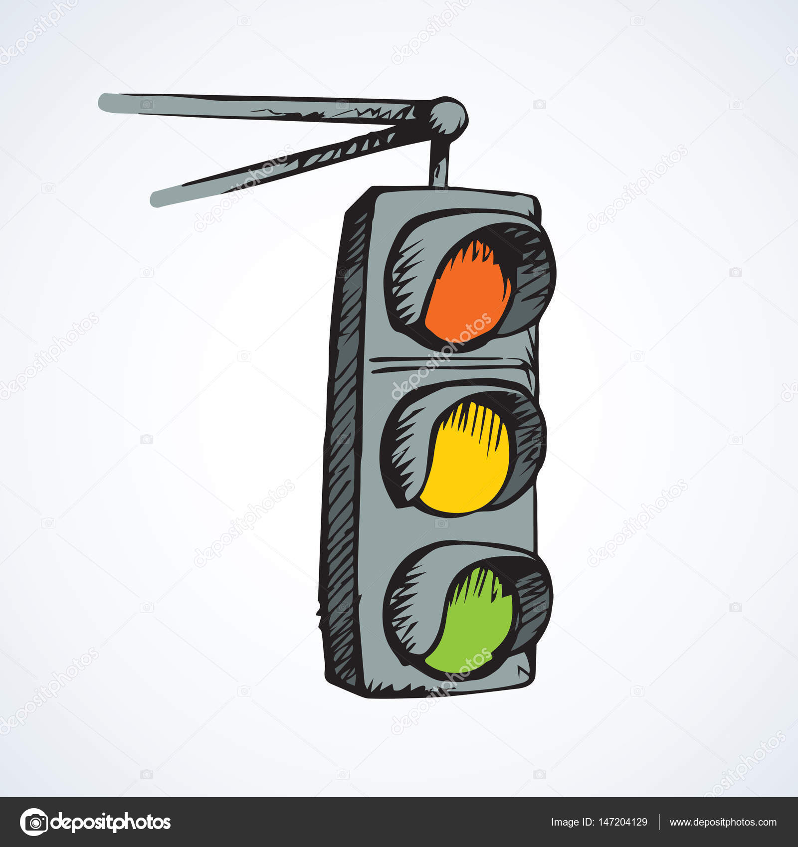 1600x1699 Traffic Light. Vector Drawing Stock Vector Marinka