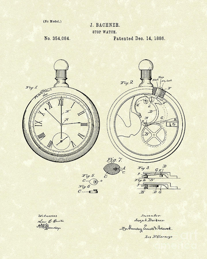 720x900 Stop Watch 1886 Patent Art Drawing By Prior Art Design