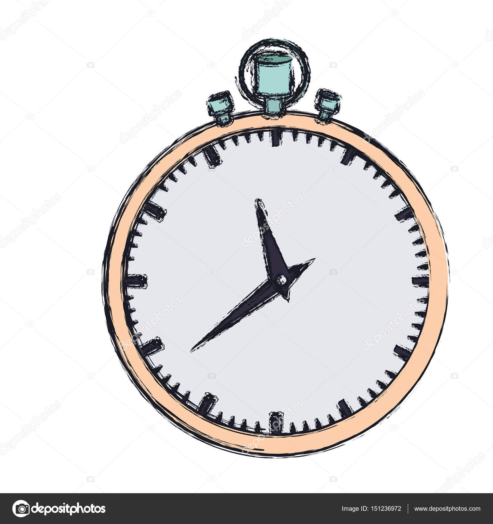 1600x1700 Hand Drawing Color Graphic Of Simple Stopwatch Stock Vector