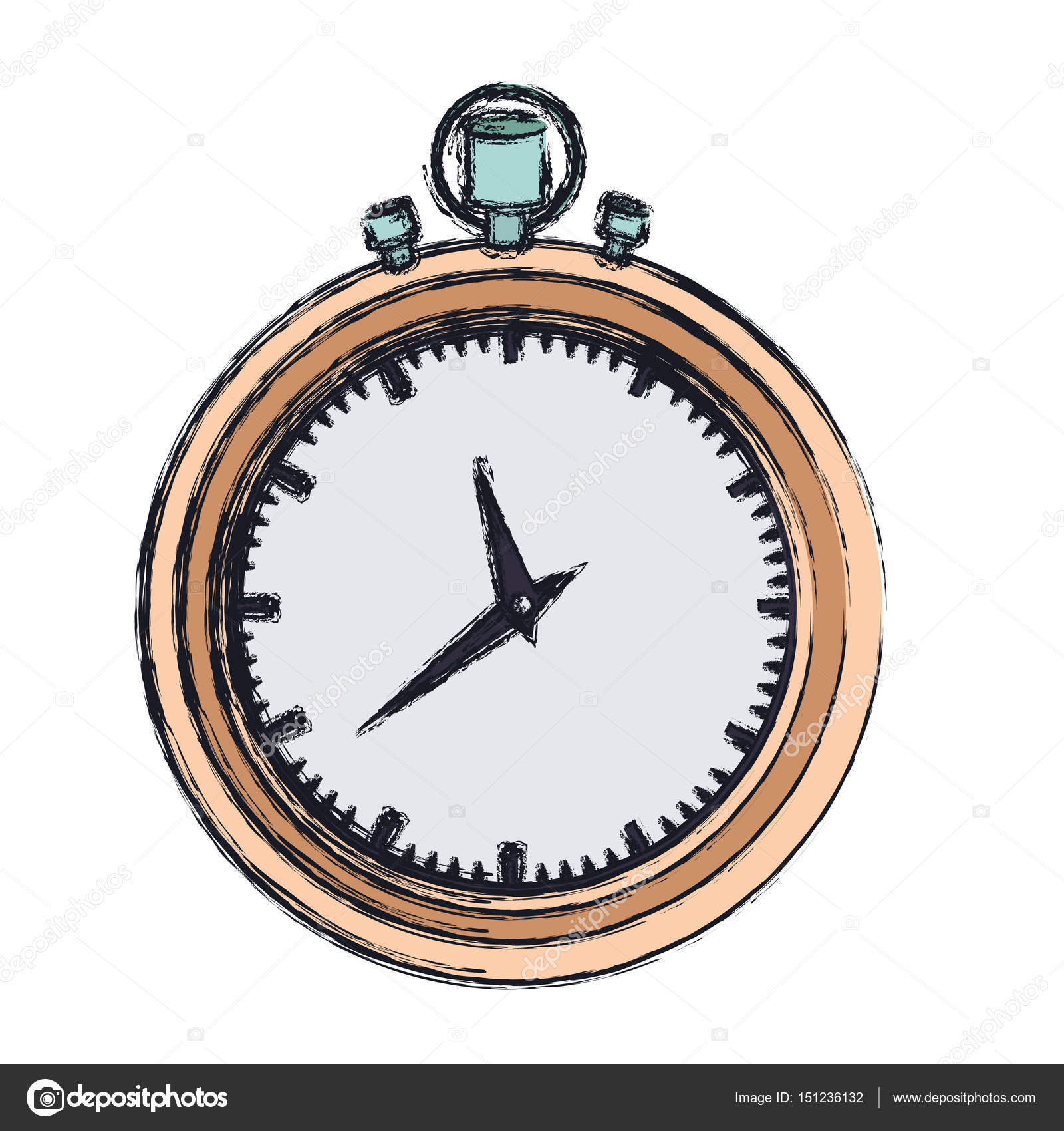 1600x1700 Hand Drawing Color Graphic Of Stopwatch With Thick Contour Stock