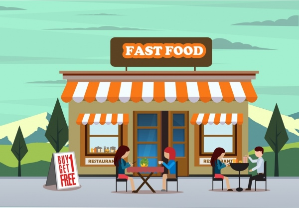 600x417 Fast Food Advertising Drawing Store Outdoor Diners Icons Free