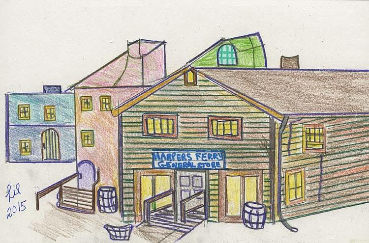 750x495 Harpers Ferry General Store Drawing By Lill Curth