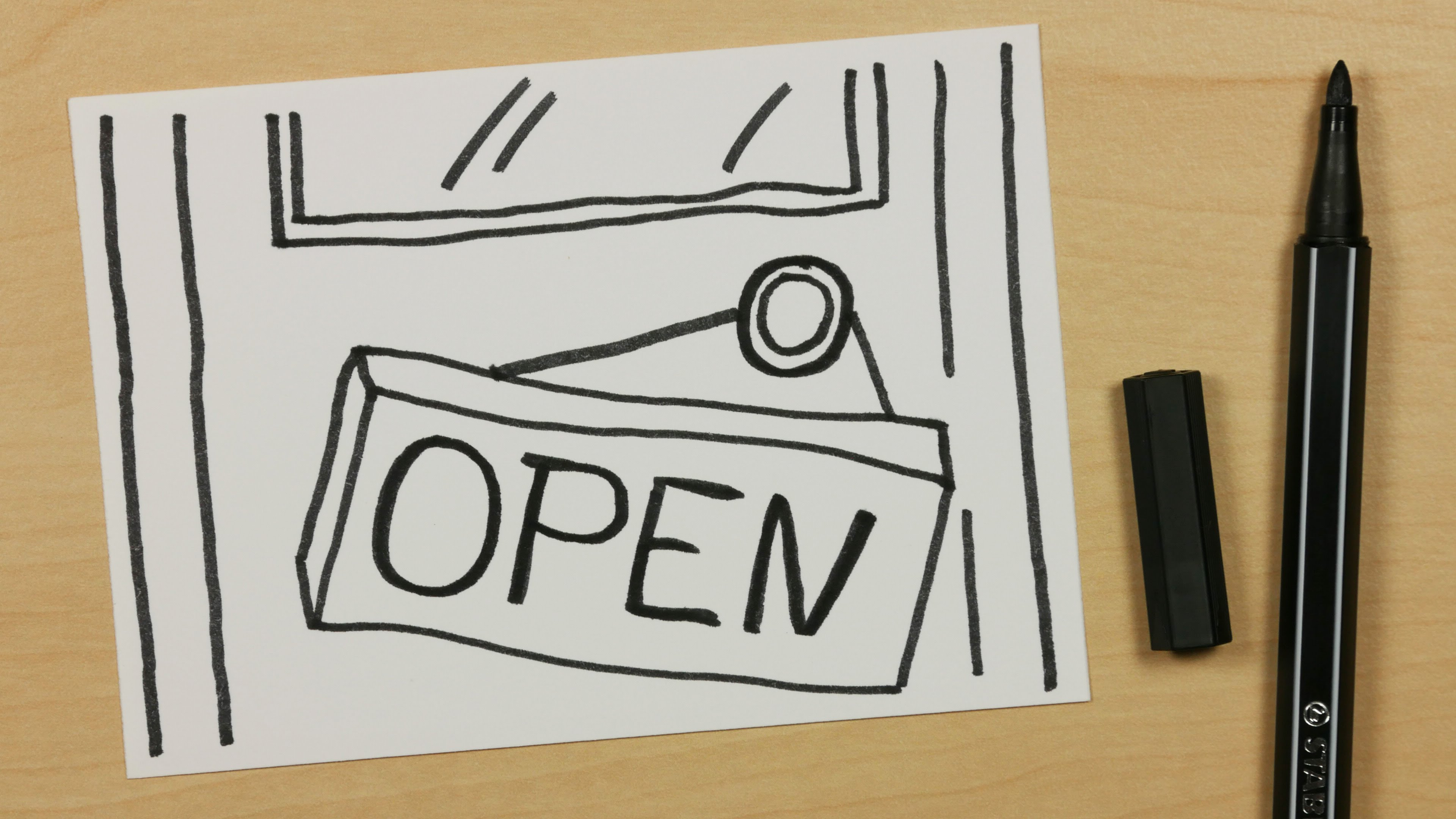 3840x2160 How To Draw A Open Hanging Shop Schild Or Store Sign