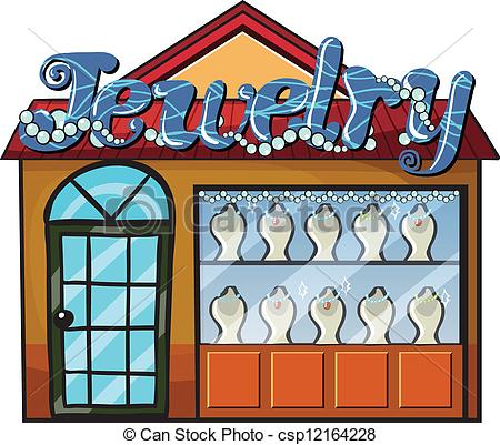 450x401 Illustration Of A Jewelry Shop On A White Background Vector