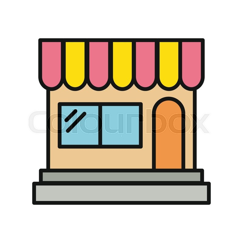 800x800 Store Icon. Shop Icon. Flat Design. Shop Or Market. Cartoon Shop