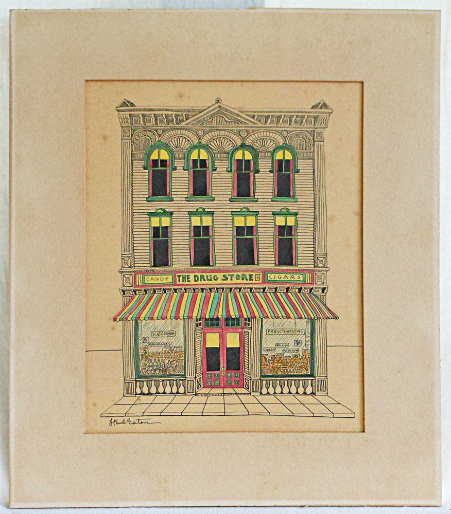 876x1000 Vintage Signed J Paul Eaton Pen Ink Drawing The Drug Store