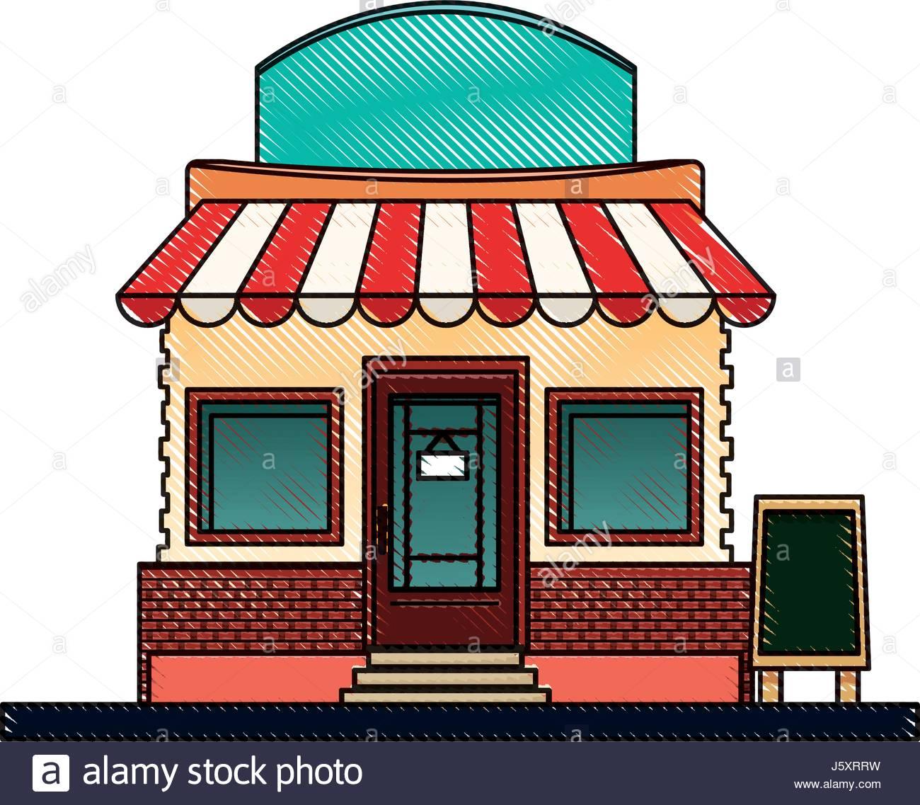 1300x1137 Drawing Store Market Business Shop Building Stock Vector Art