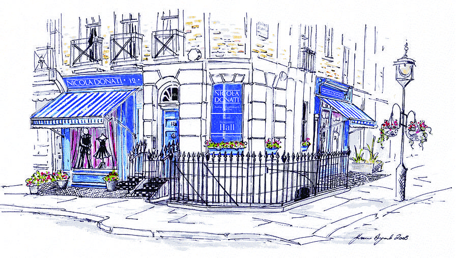 900x507 London Storefront Drawing By Yvonne Ayoub