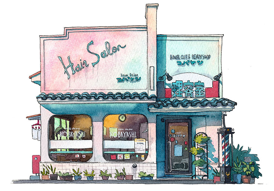 880x613 Tokyo Storefronts Captured In Watercolor By Polish Artist Bored