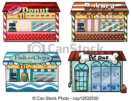 450x348 Illustration Of A Donut Store, Bakery, Fish And Chips Store