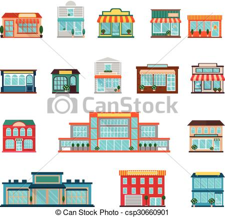 450x434 Store Icons Set. Stores And Supermarkets Big And Small Vector