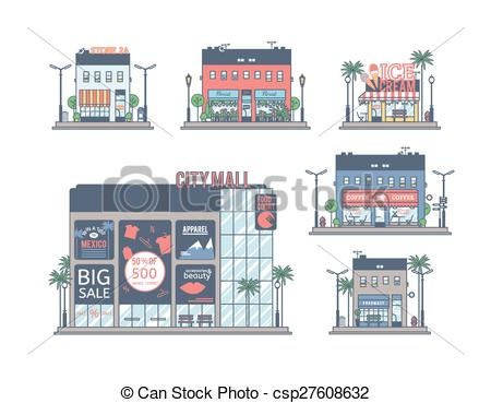 450x369 The Set Of Stores. Drawings Of Individual Buildings. Vectors