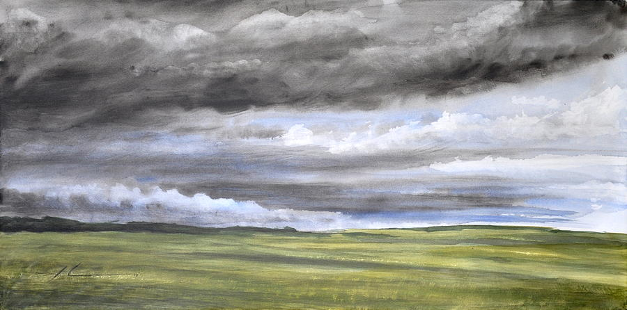 900x446 Storm Clouds Farmland Watercolor Painting Drawing By Mike Theuer
