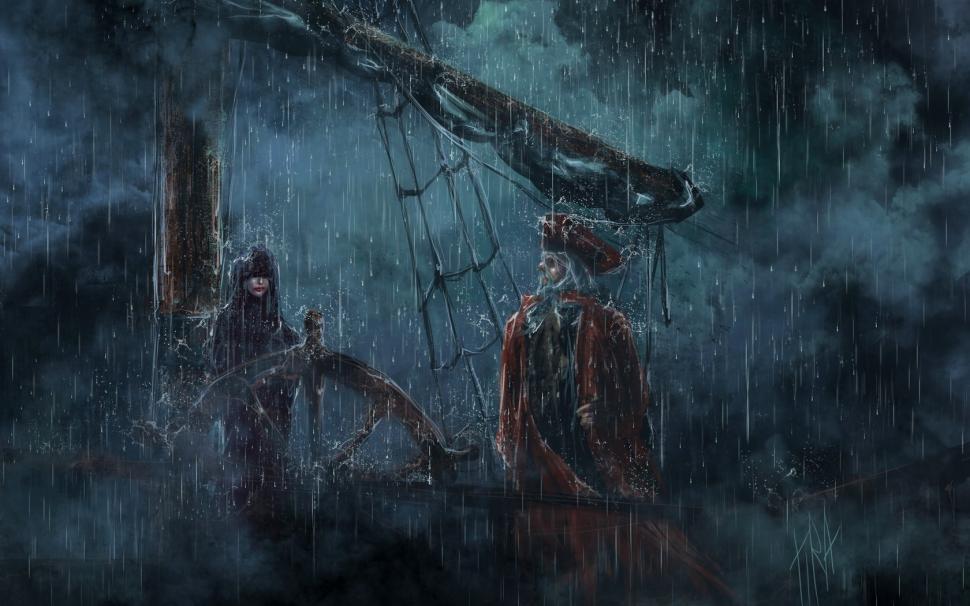 970x606 Pirate Rain Ship Schooner Storm Drawing Hd Wallpaper Creative