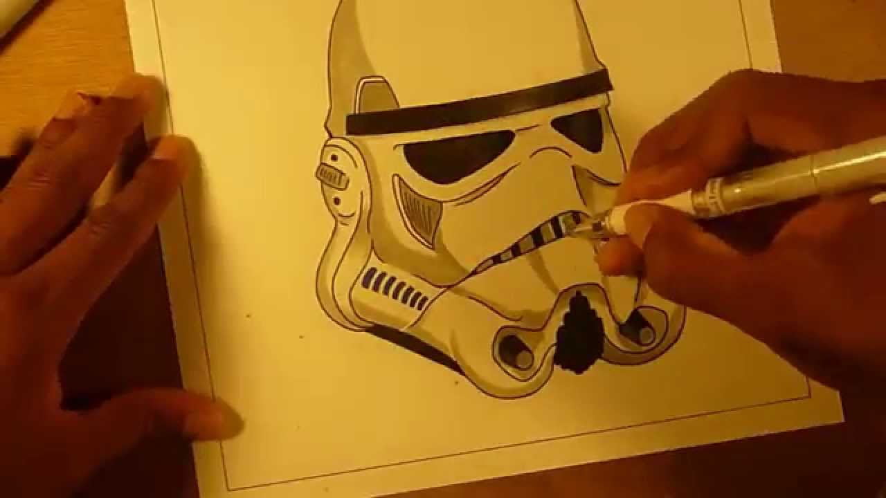 1280x720 Stormtrooper Helmet Speed Drawing