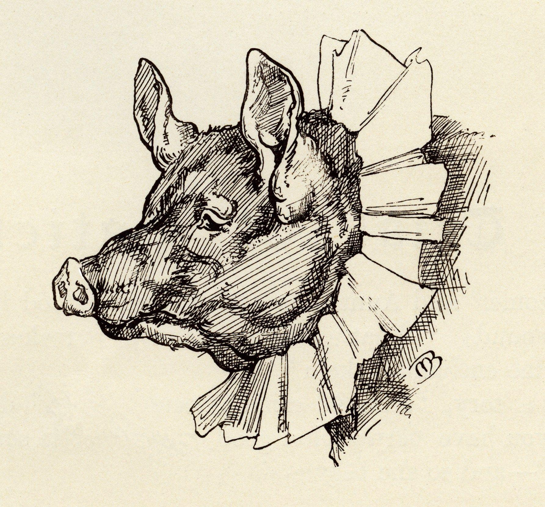 1785x1662 Whimsical Pig Clip Art, Black And White Graphics, Vintage Pig